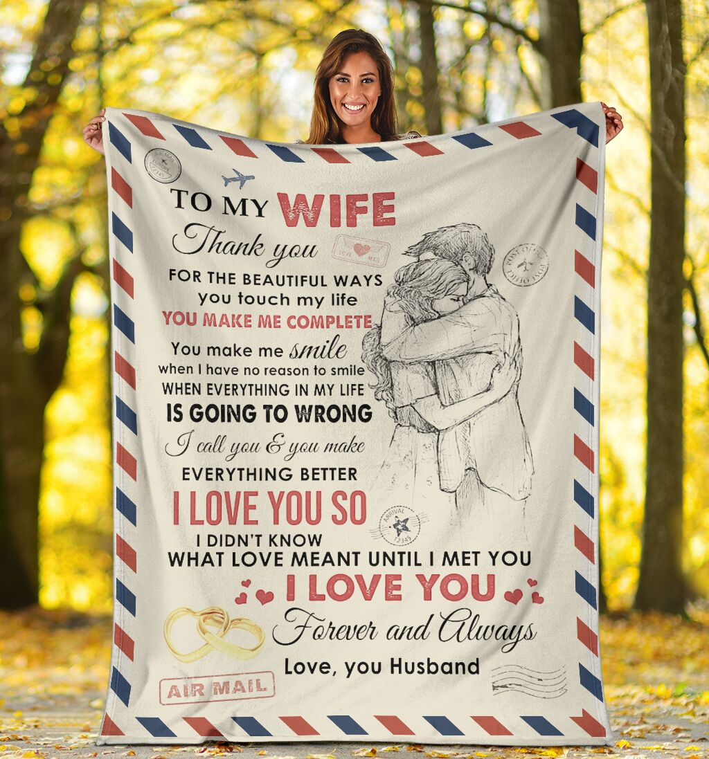 love air mail to my wife you make me complete i love you full printing blanket 4