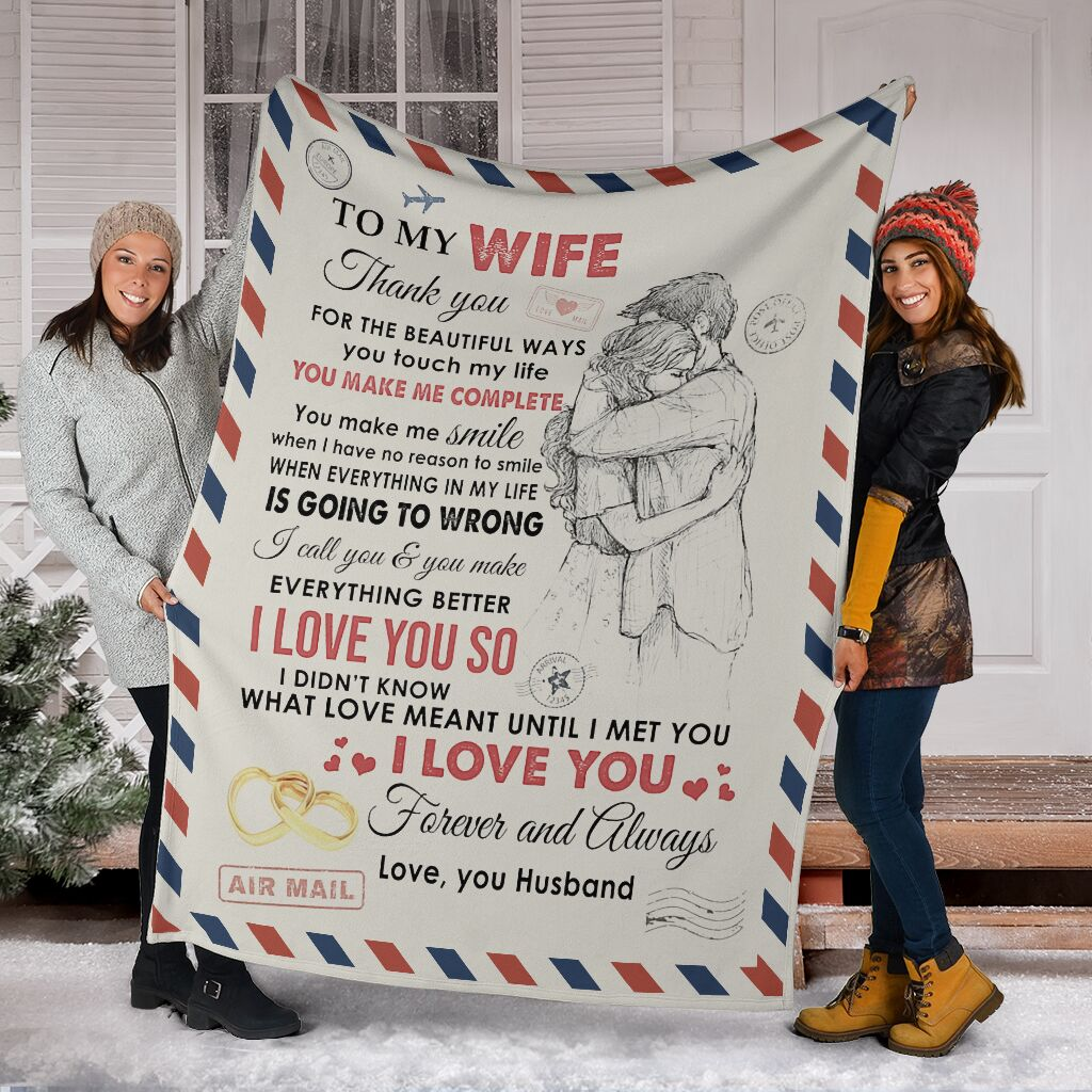 love air mail to my wife you make me complete i love you full printing blanket 5