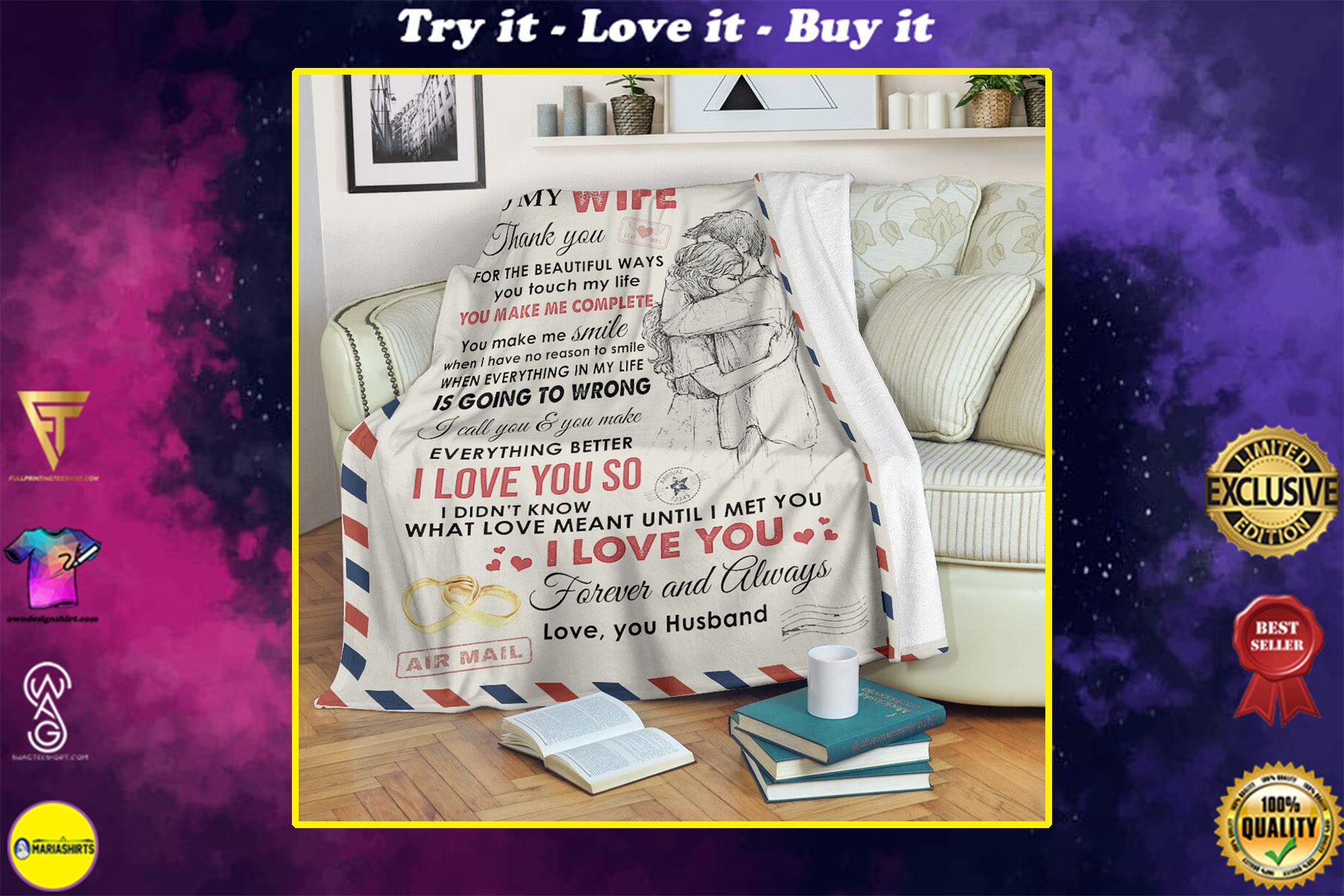 love air mail to my wife you make me complete i love you full printing blanket