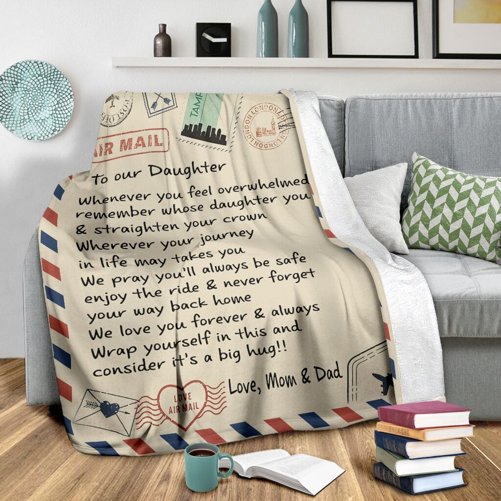 love air mail to our daughter we love you forever and always full printing blanket 4