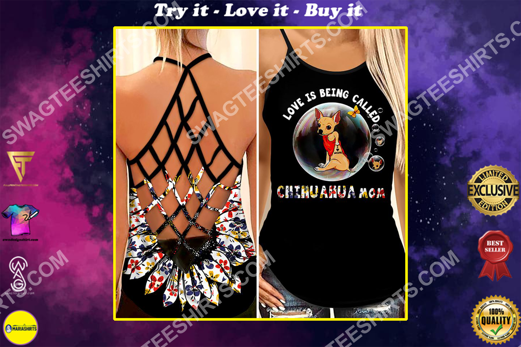 love being called chihuahua mom all over printed strappy back tank top