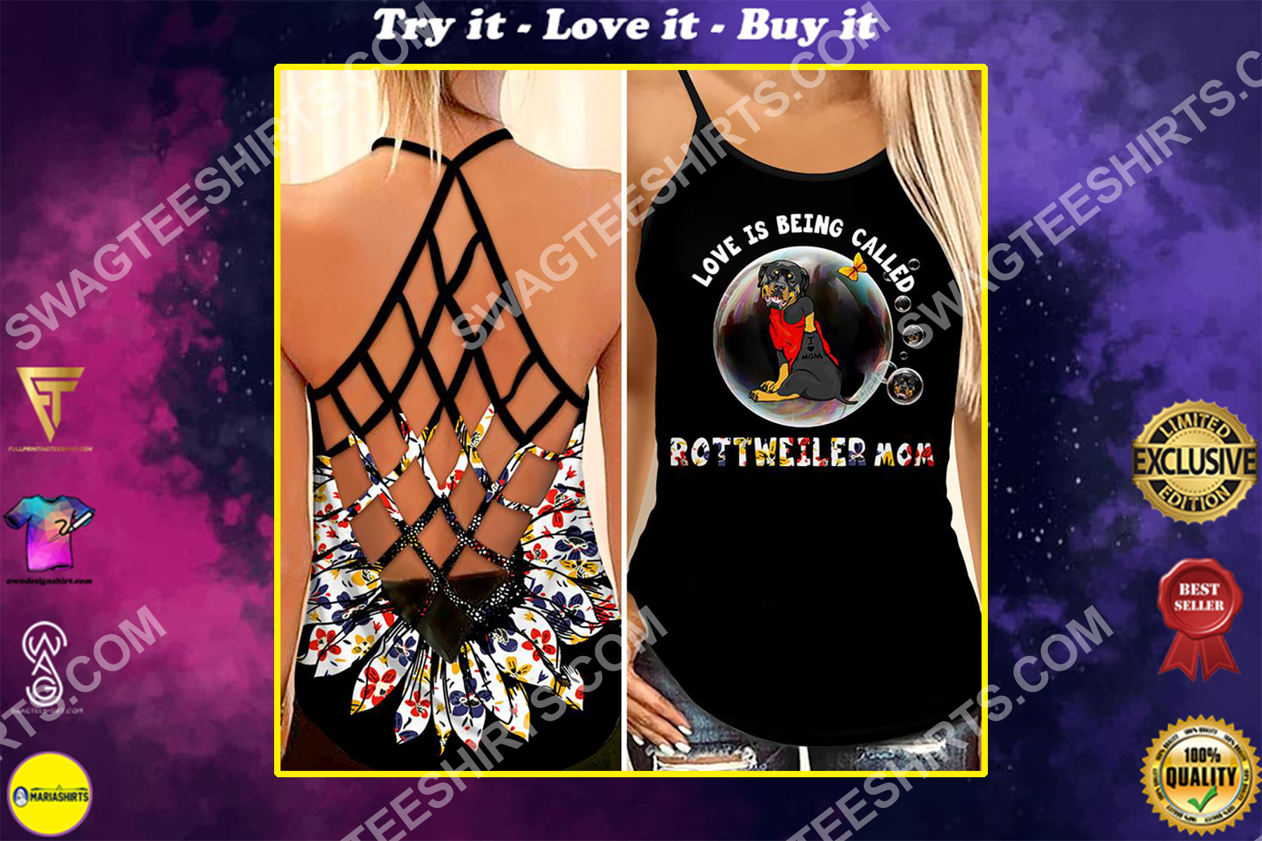 love being called rottweiler mom all over printed strappy back tank top
