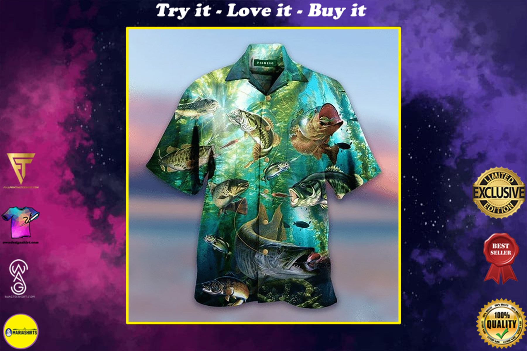 love fishing all over printed hawaiian shirt