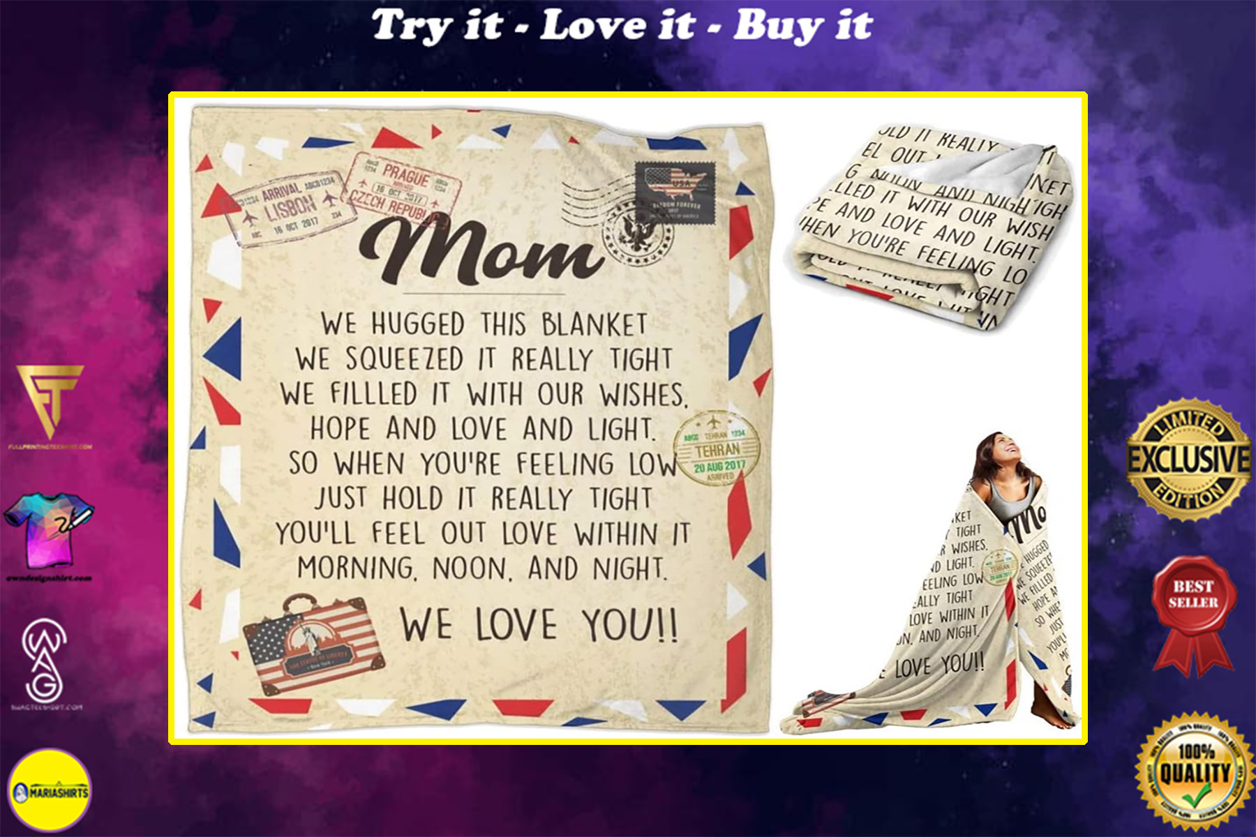 love letter to mom we hugged this blanket we love you blanket