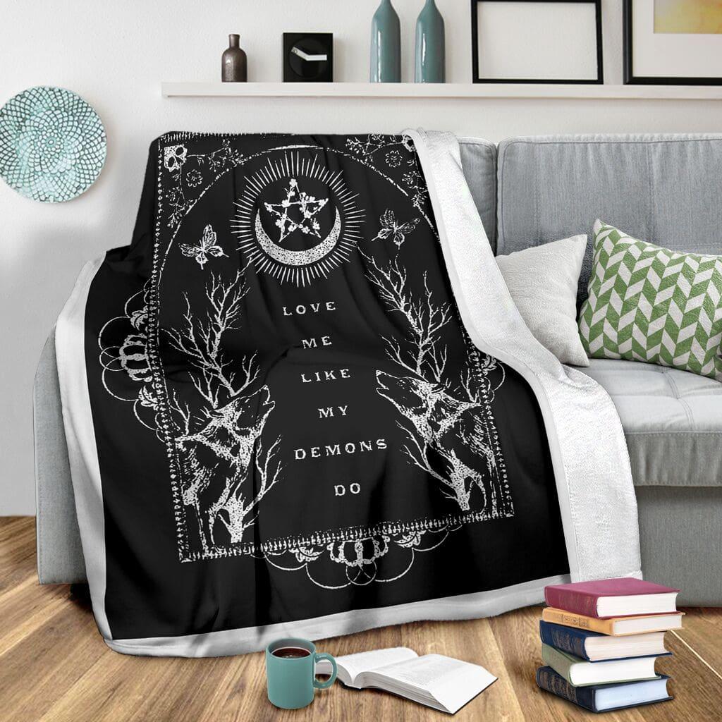love me like my demons do full printing blanket 3