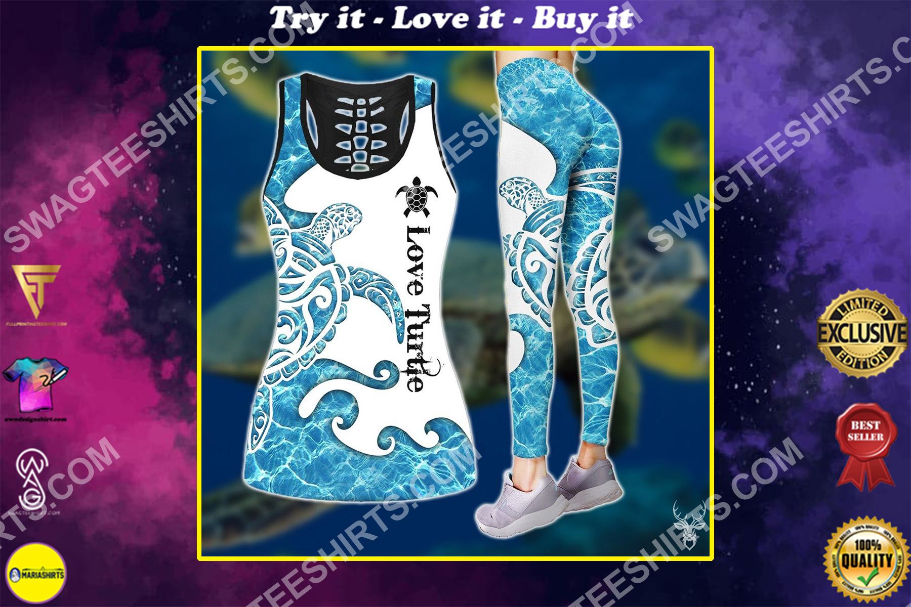 love sea turtle all over printed set sports outfit