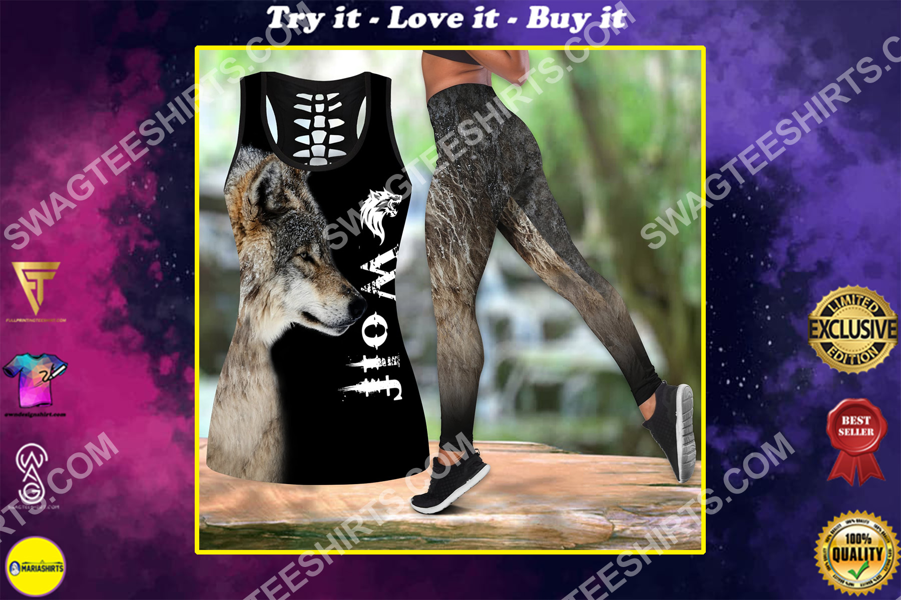 love wolf all over printed set sports outfit
