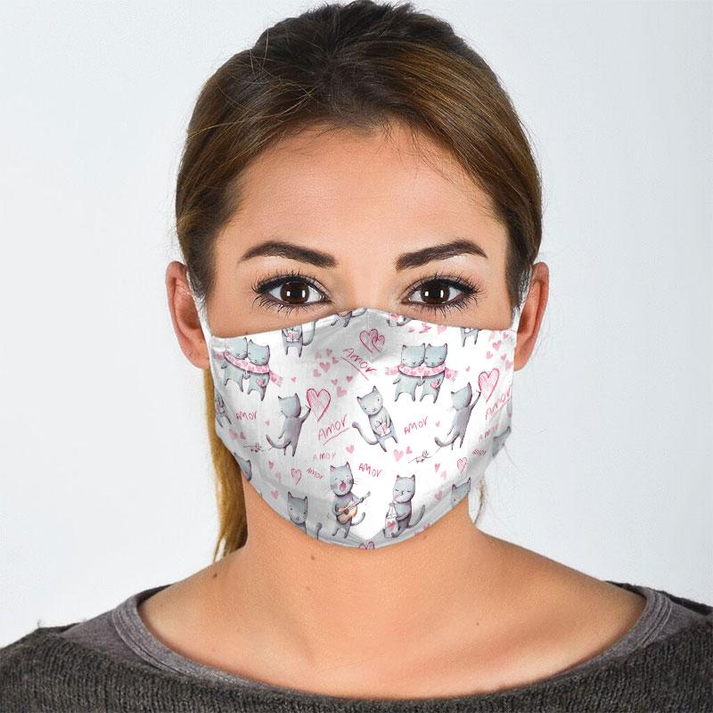 lovely couple cat all over print face mask 3