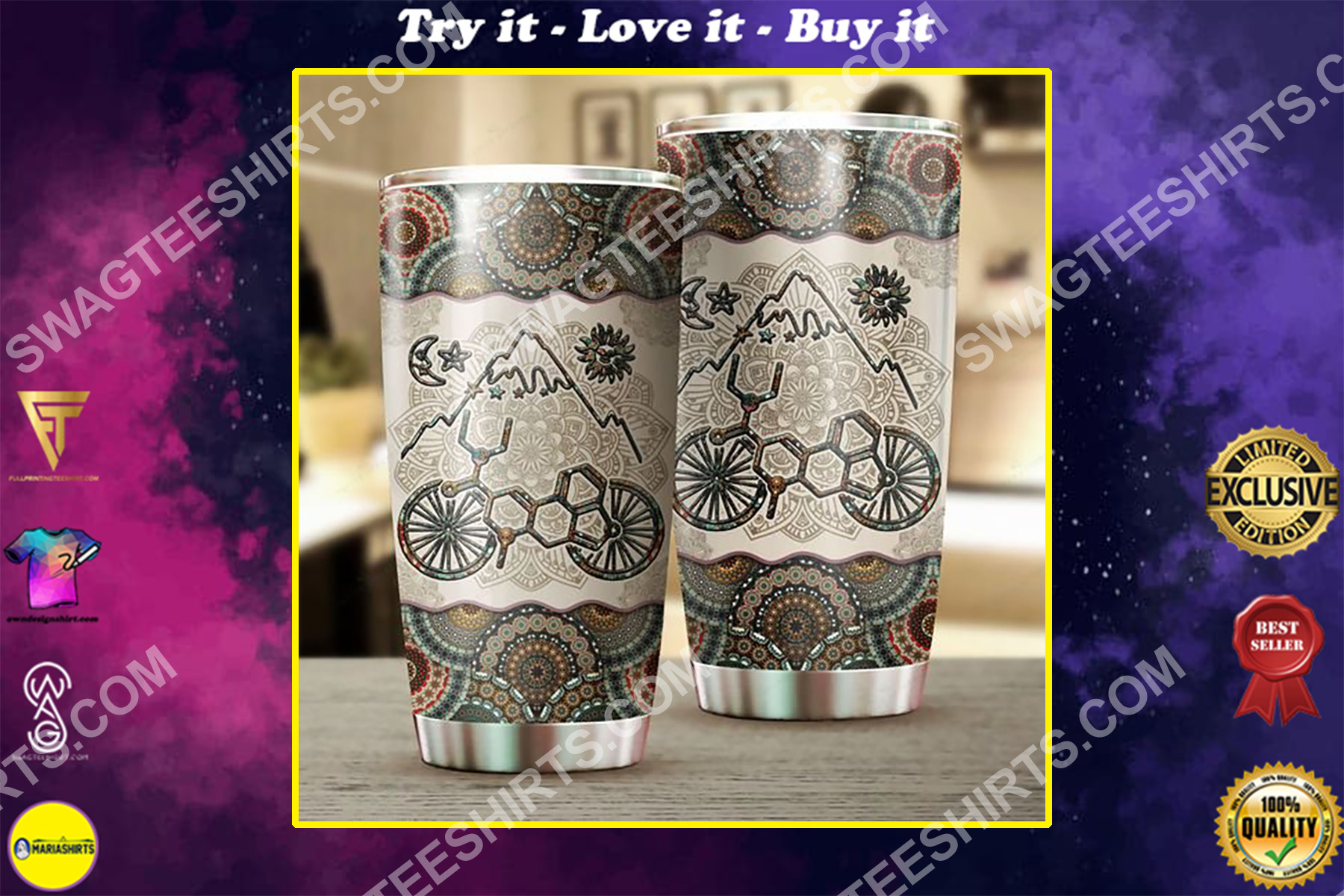 lsd bicycle mandala all over printed stainless steel tumbler