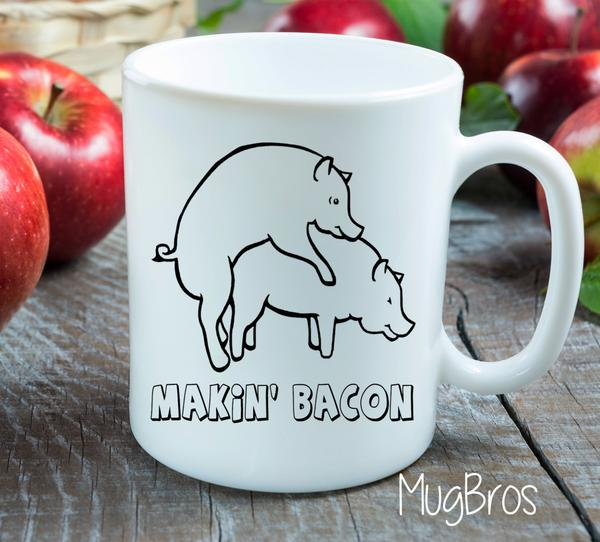 making bacon funny gift idea coffee cup 2