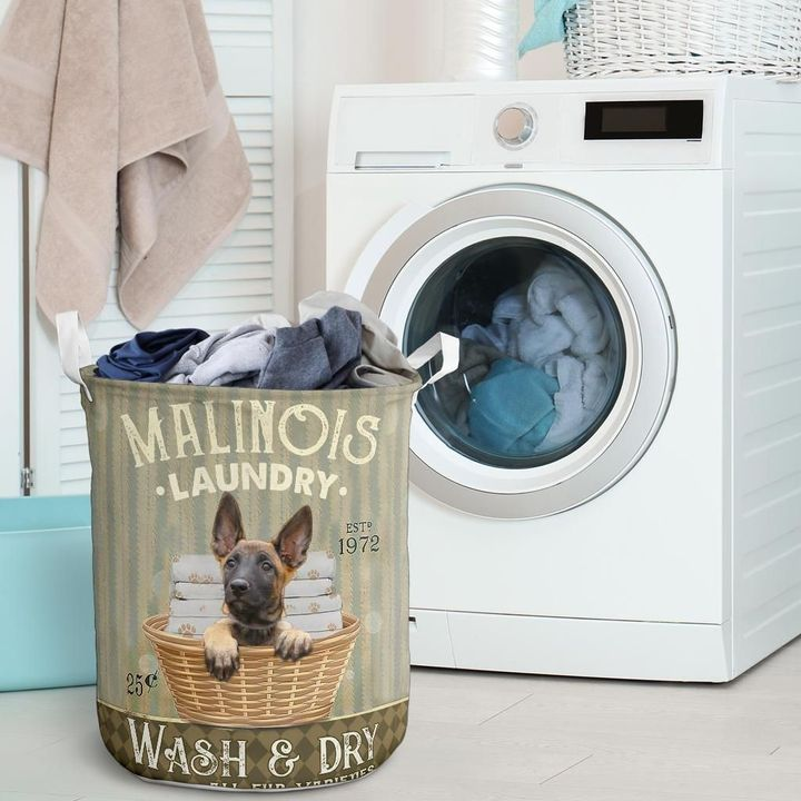 malinois dog all over printed laundry basket 2