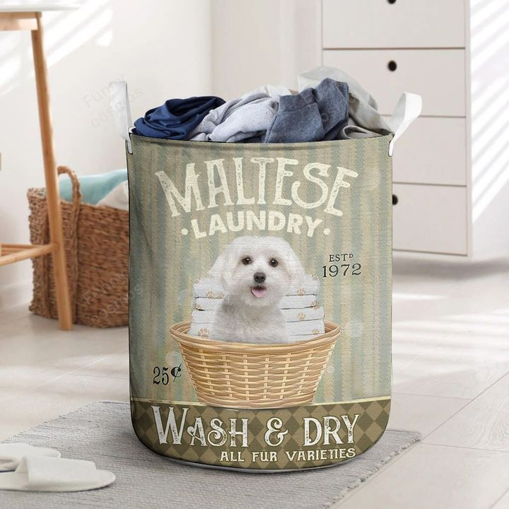 maltese dog all over printed laundry basket 5