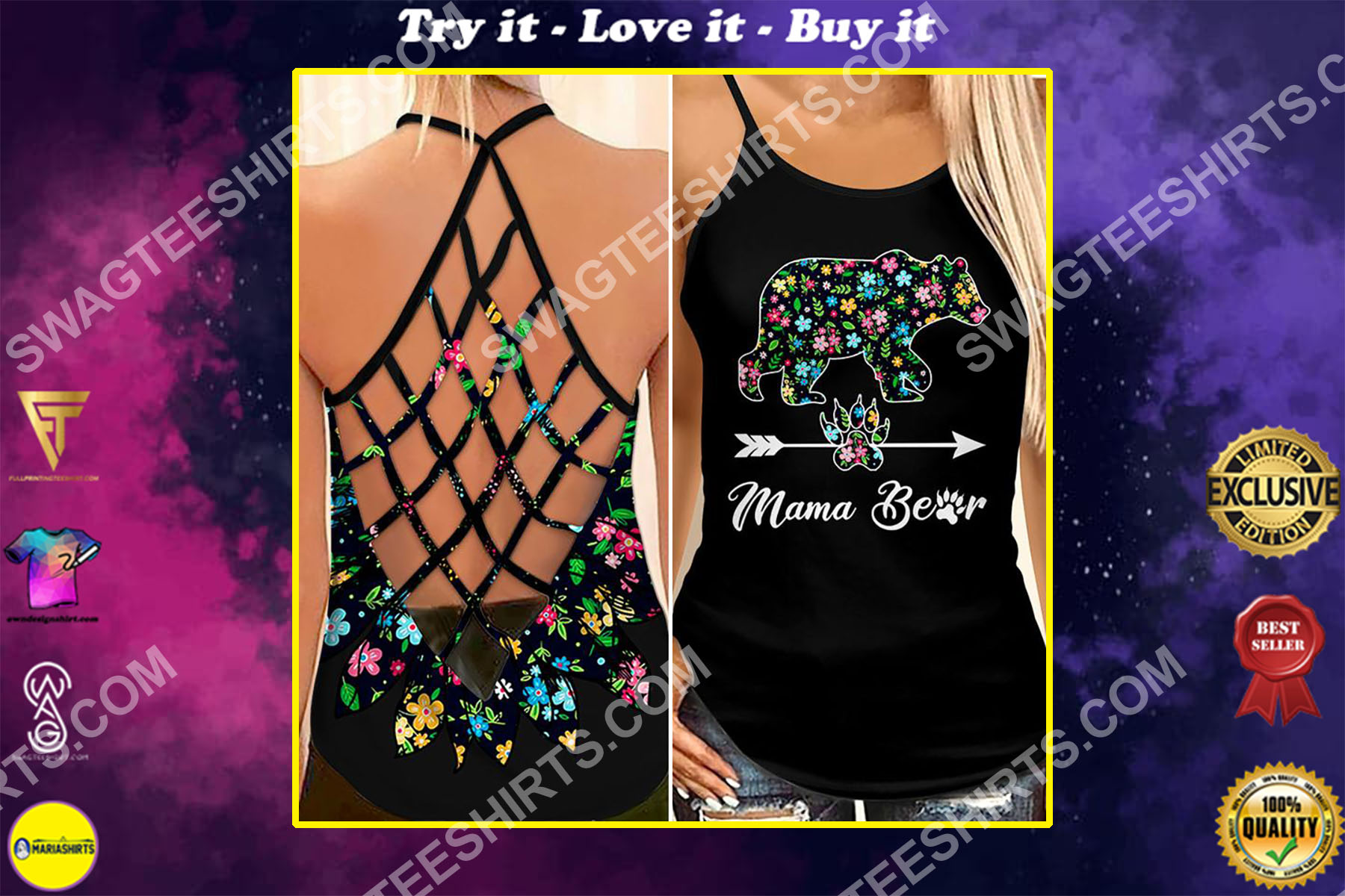 mama bear mothers day floral all over printed strappy back tank top
