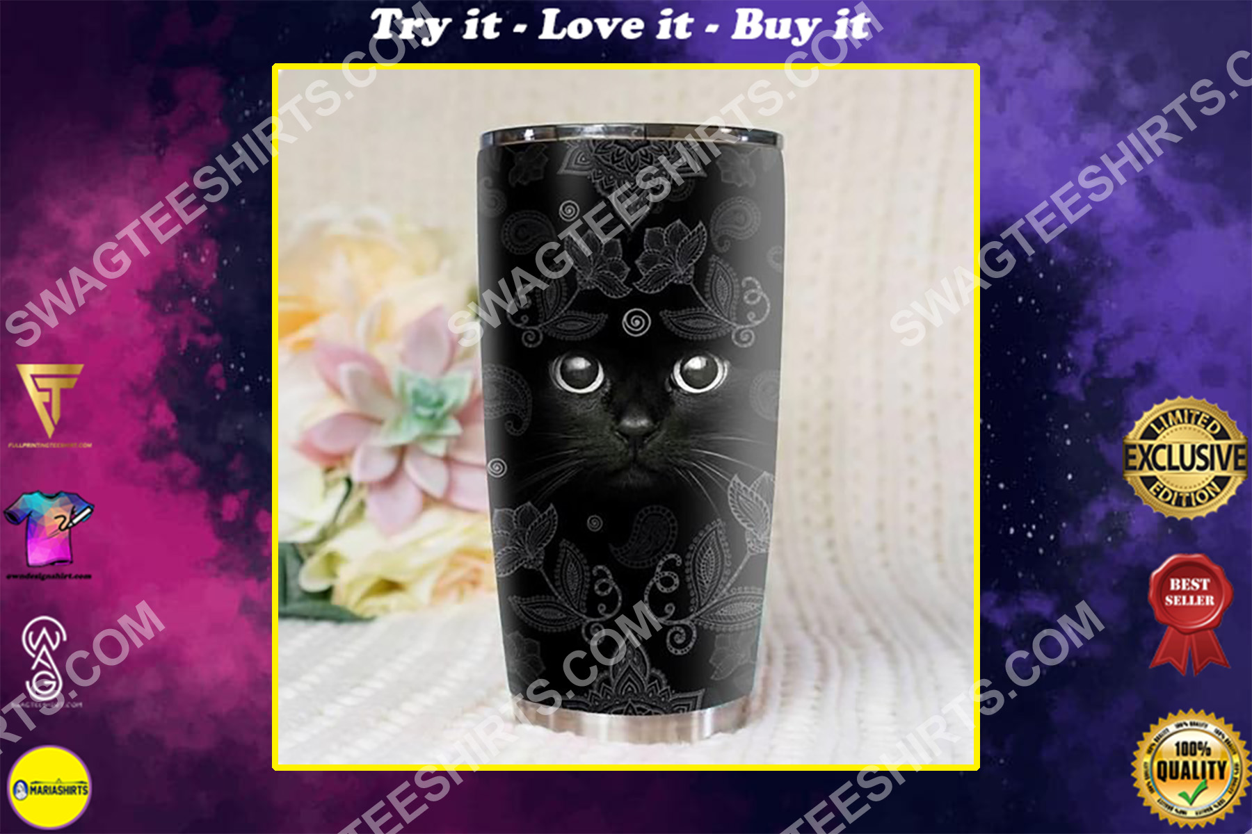 mandala black cat all over printed stainless steel tumbler