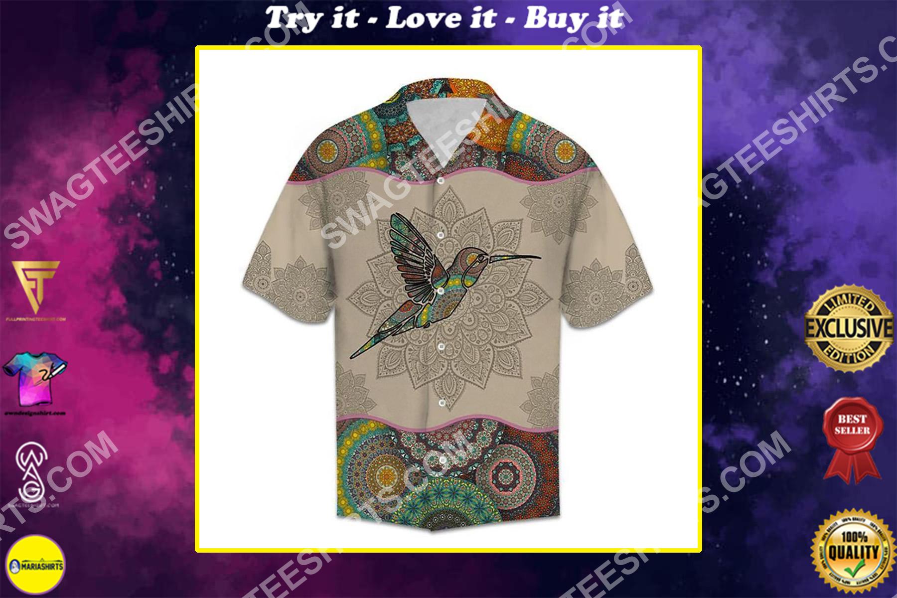 mandala hummingbird vintage all over printed hawaiian shirt