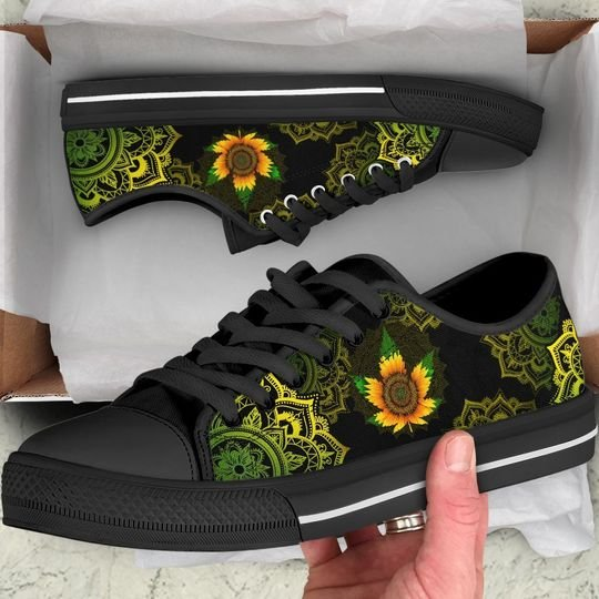 mandala sunflower cannabis full printing low top shoes 2