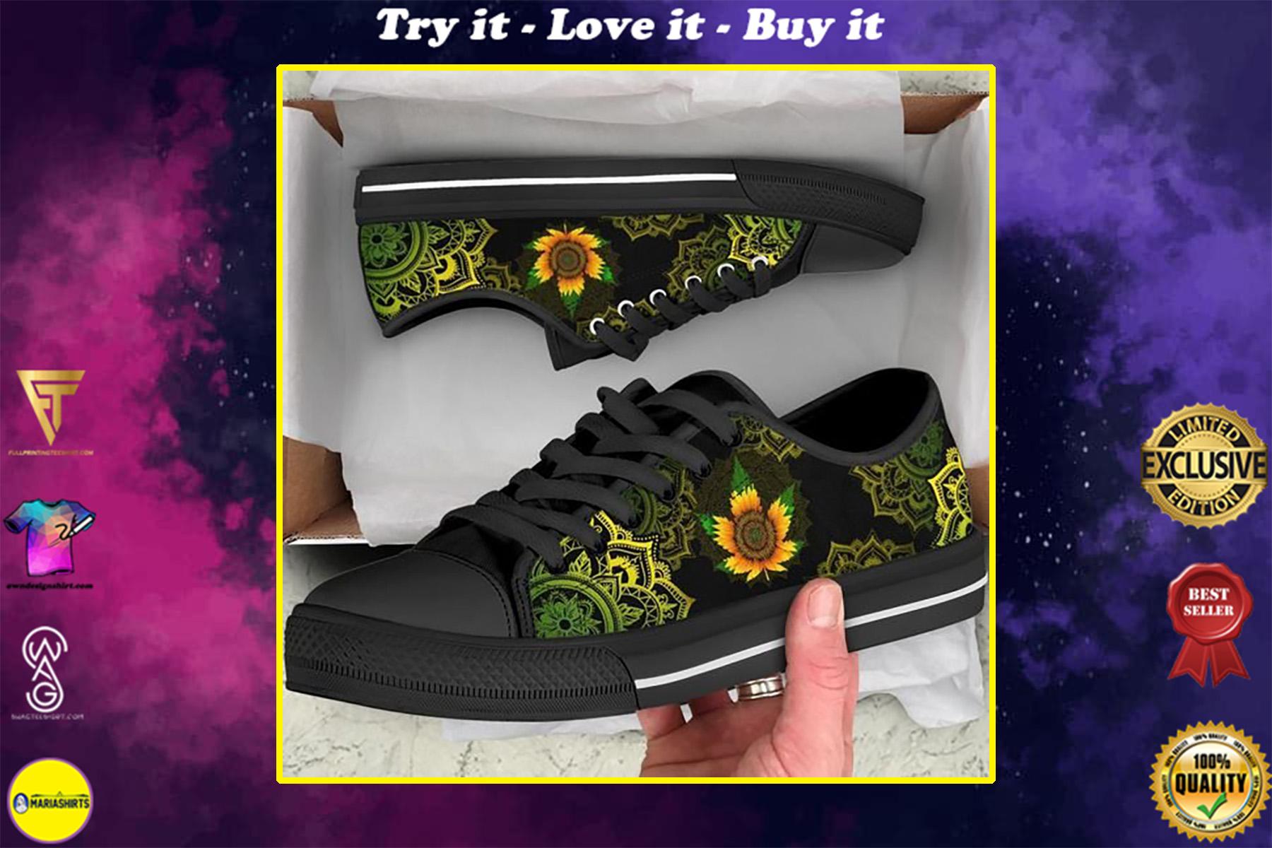 mandala sunflower cannabis full printing low top shoes
