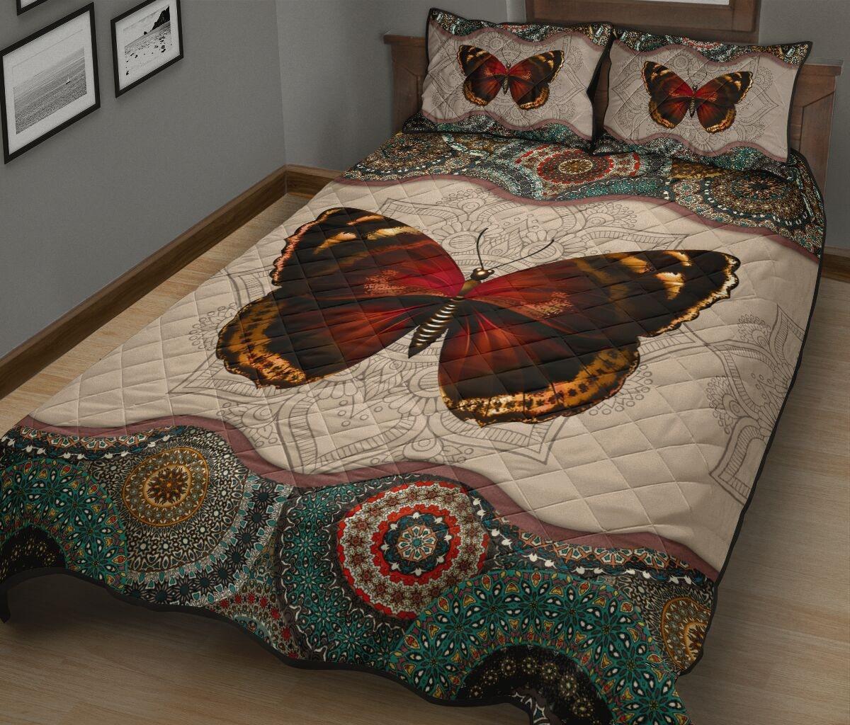 mandala version butterfly autumn full over print quilt 2