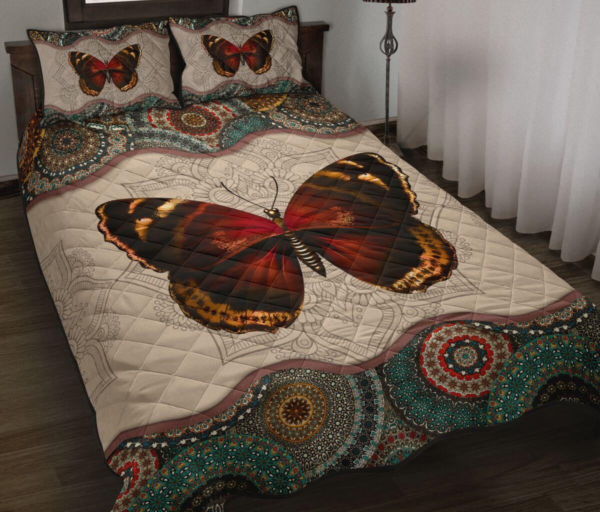 mandala version butterfly autumn full over print quilt 3
