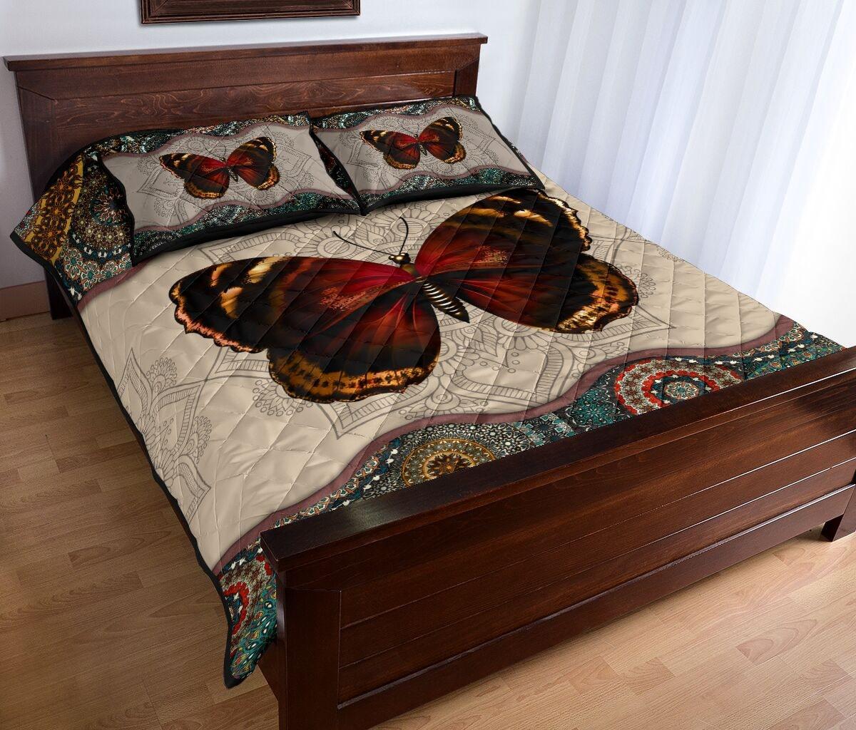 mandala version butterfly autumn full over print quilt 4