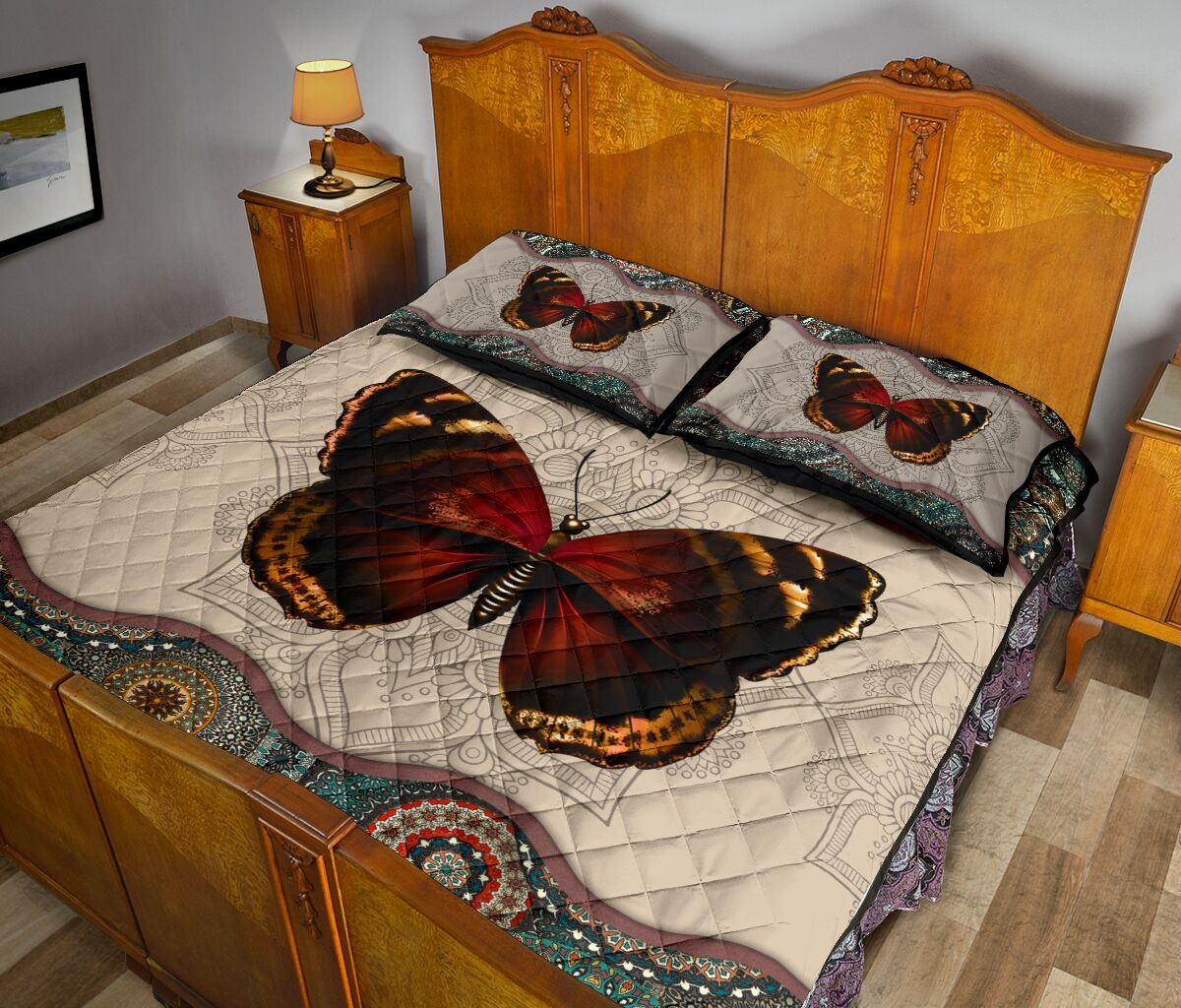 mandala version butterfly autumn full over print quilt 5
