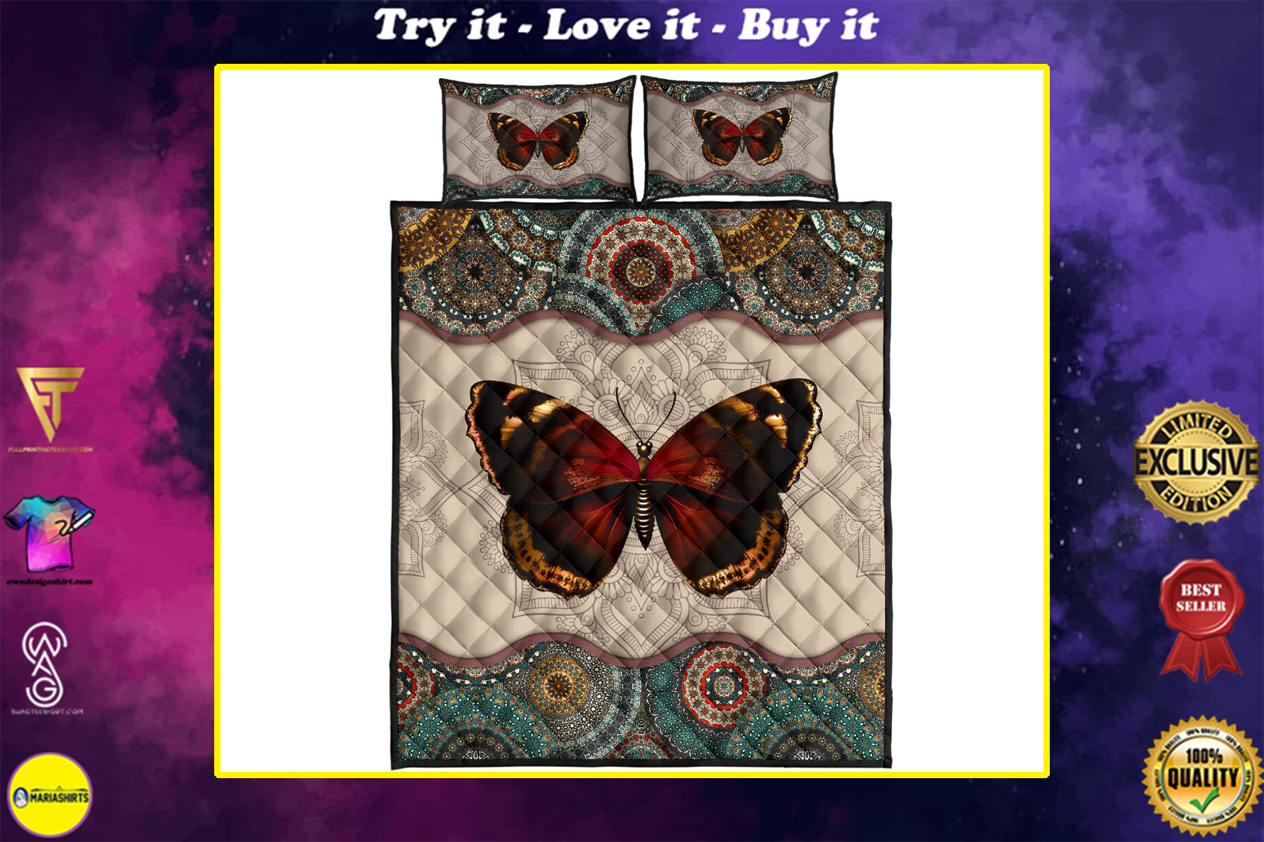 mandala version butterfly autumn full over print quilt