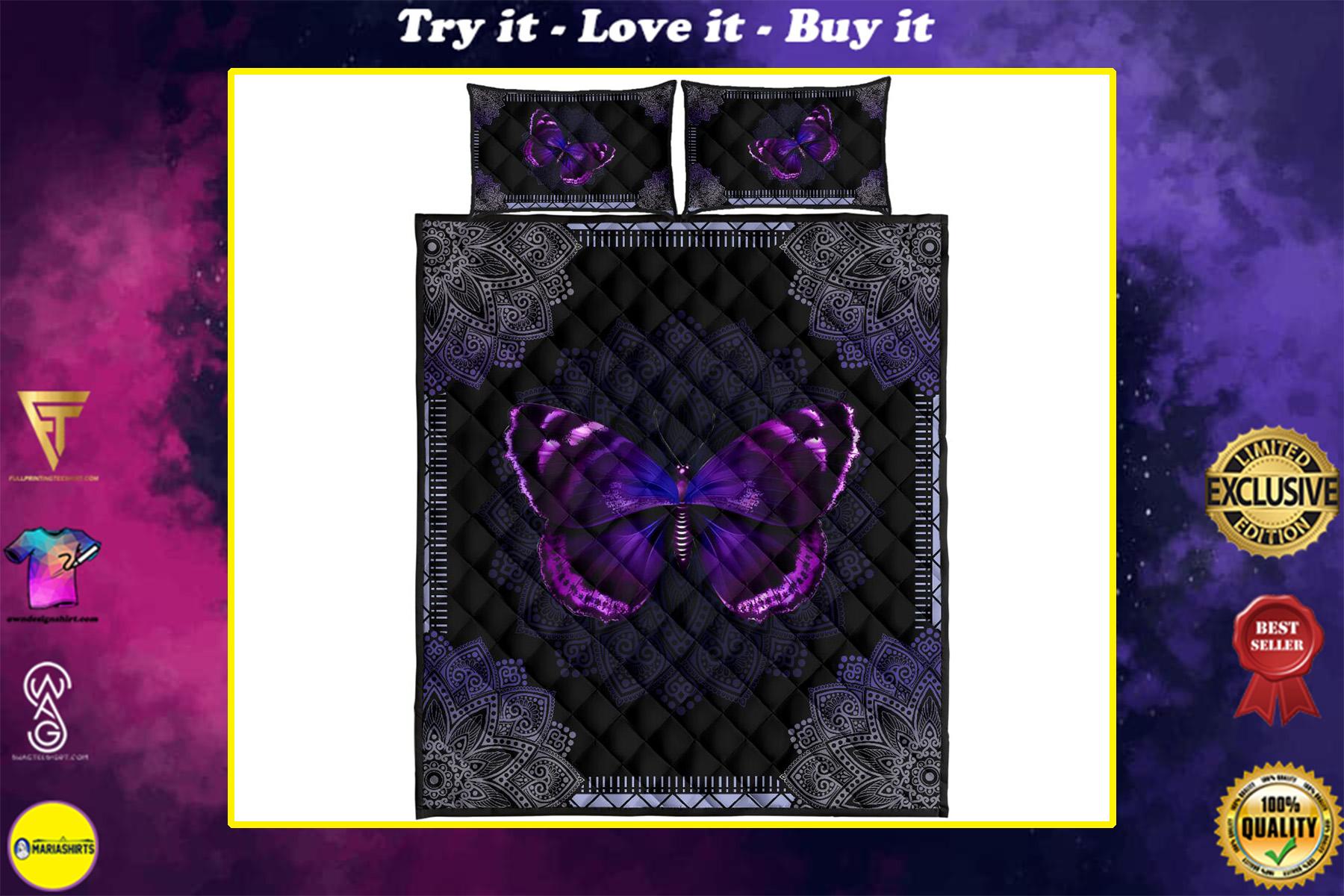 mandala version butterfly night full over print quilt