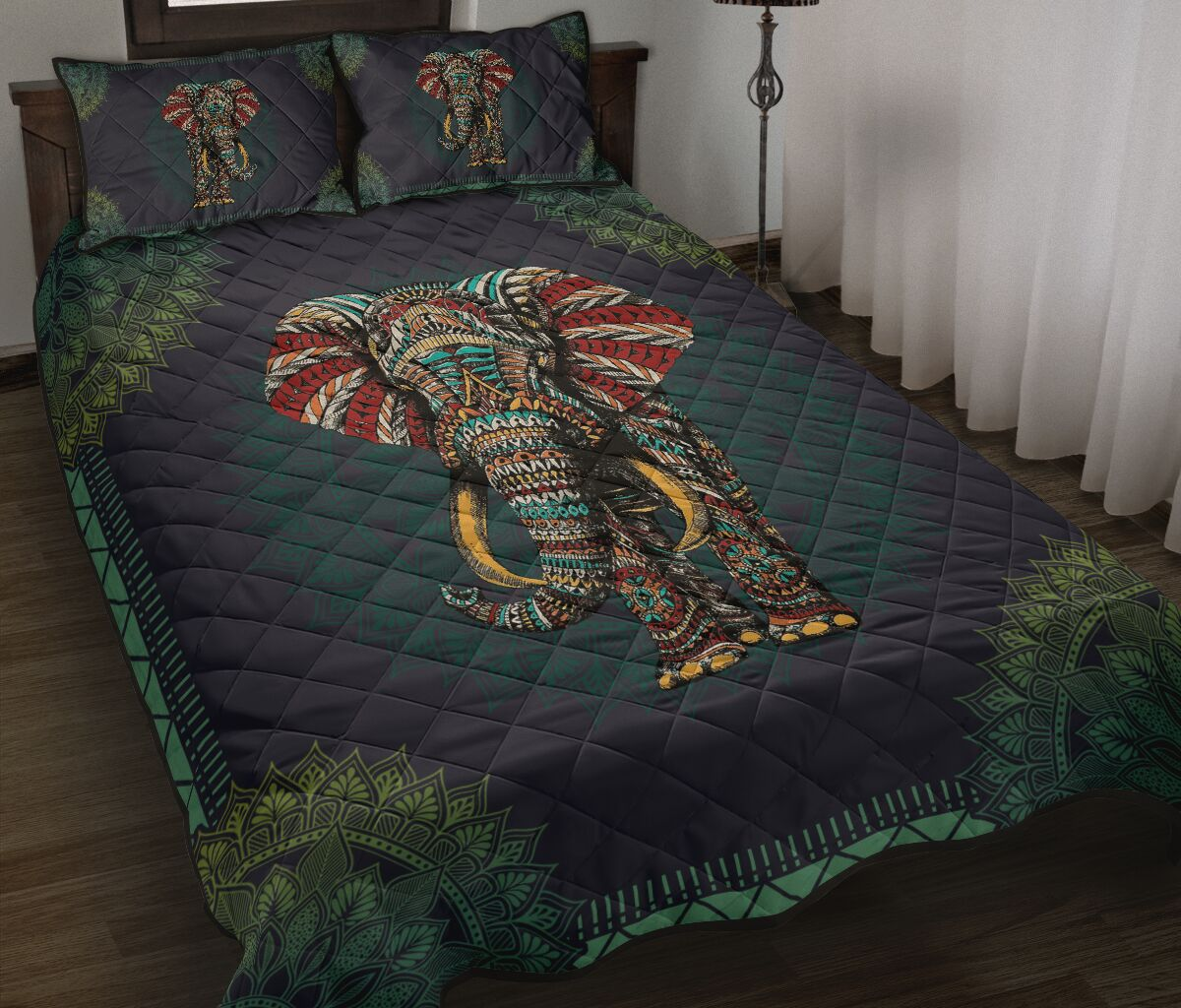 mandala version elephant full over print quilt 2