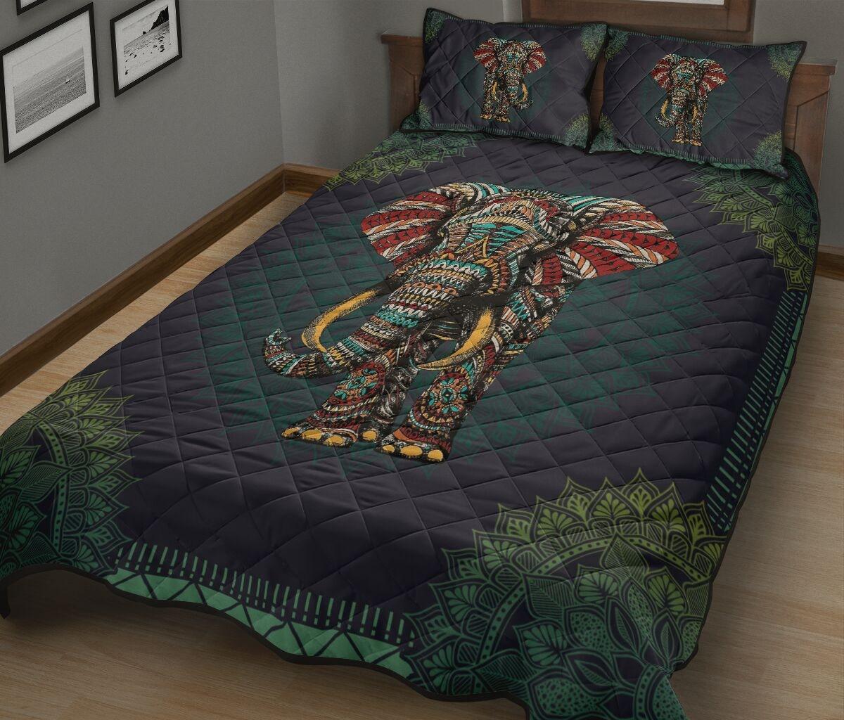mandala version elephant full over print quilt 3