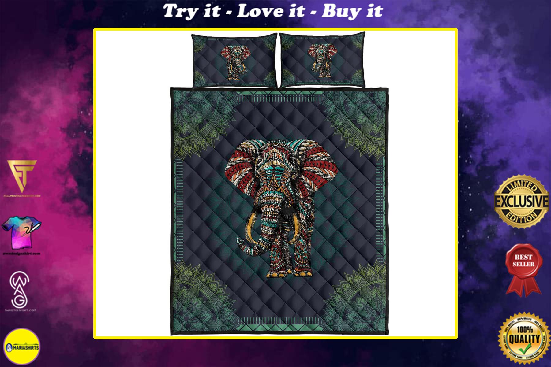 mandala version elephant full over print quilt