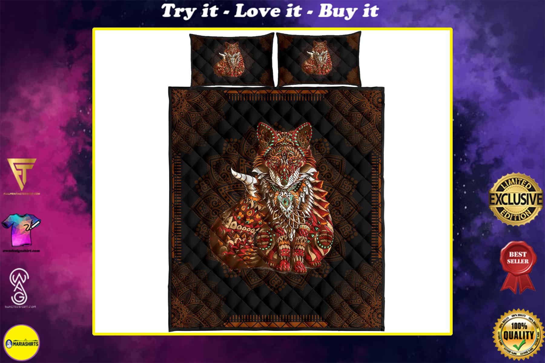 mandala version fox full over print quilt