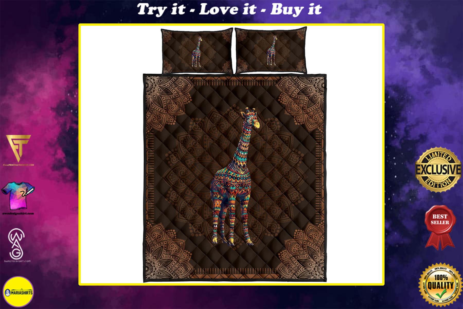 mandala version giraffe full over print quilt