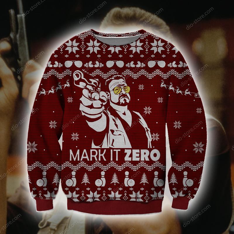 mark it zero the big lebowski all over printed ugly christmas sweater 2