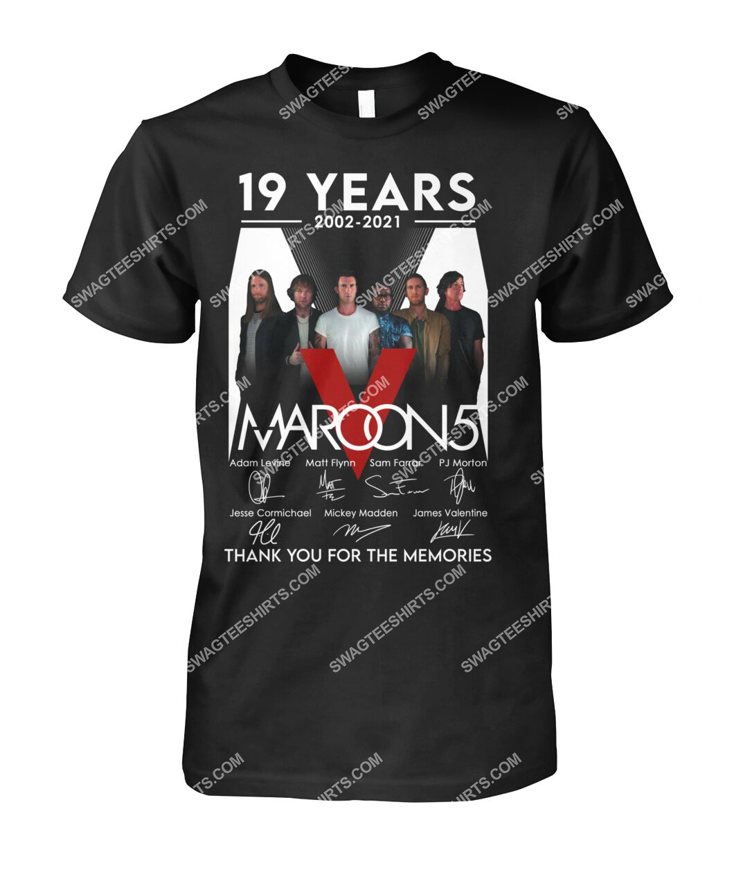 maroon 5 19 years thank you for memories signature tshirt 1