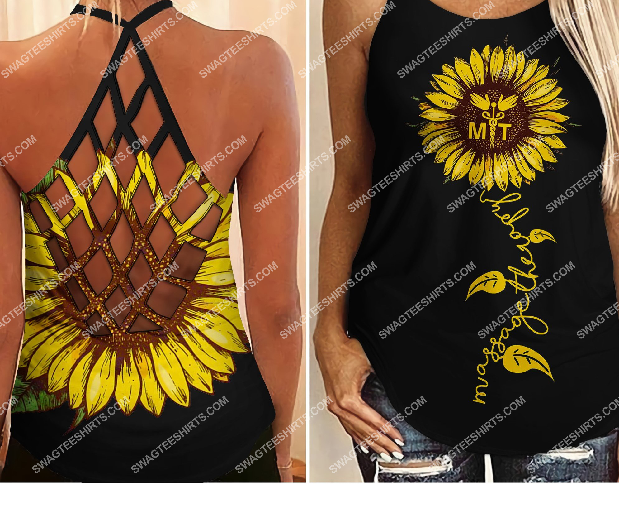 massage therapist sunflower all over printed strappy back tank top 2 - Copy (2)