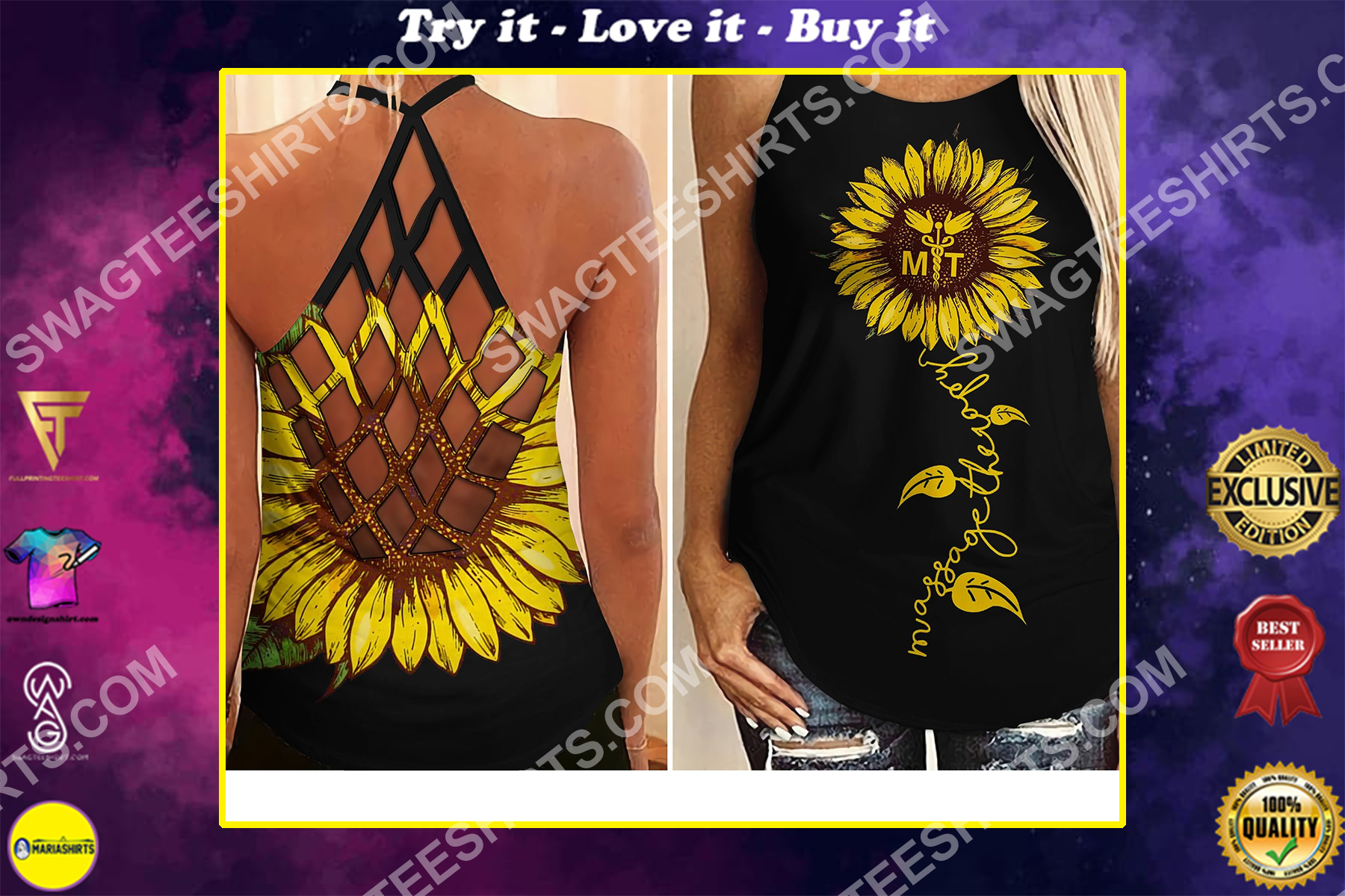 massage therapist sunflower all over printed strappy back tank top