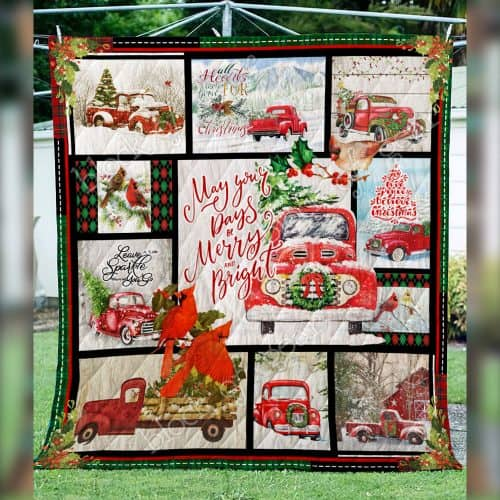 may your day be merry and bright christmas red truck quilt 3