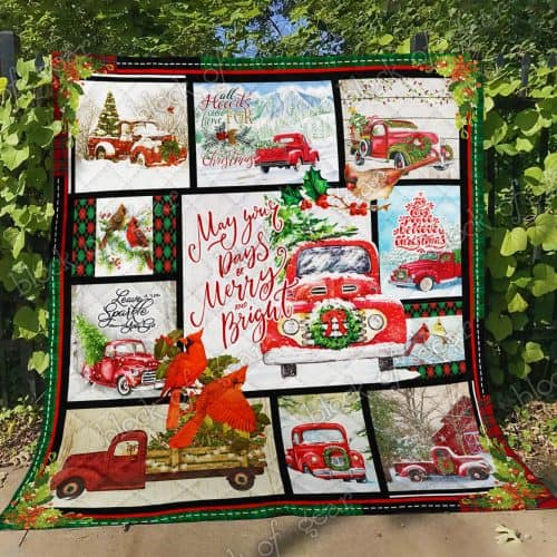 may your day be merry and bright christmas red truck quilt 4