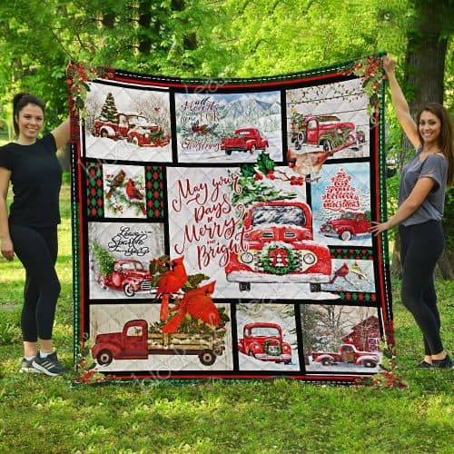 may your day be merry and bright christmas red truck quilt 5