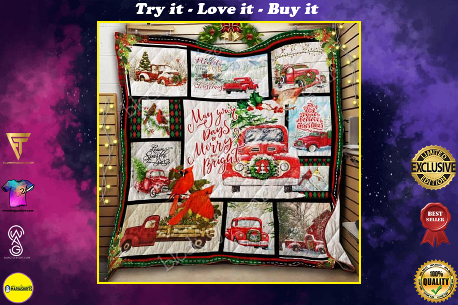 may your day be merry and bright christmas red truck quilt
