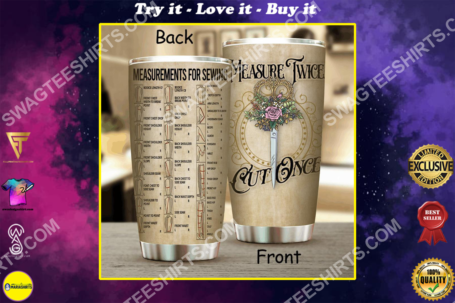 measure twice cut once all over printed stainless steel tumbler