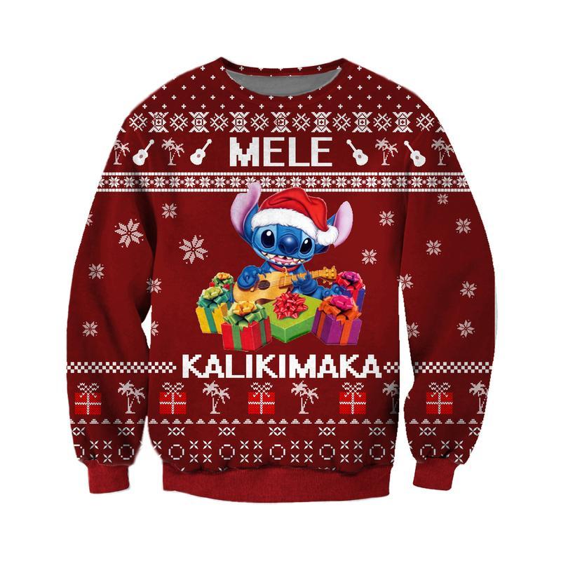 mele kalikimaka stitch santa claus all over printed ugly christmas sweater 2