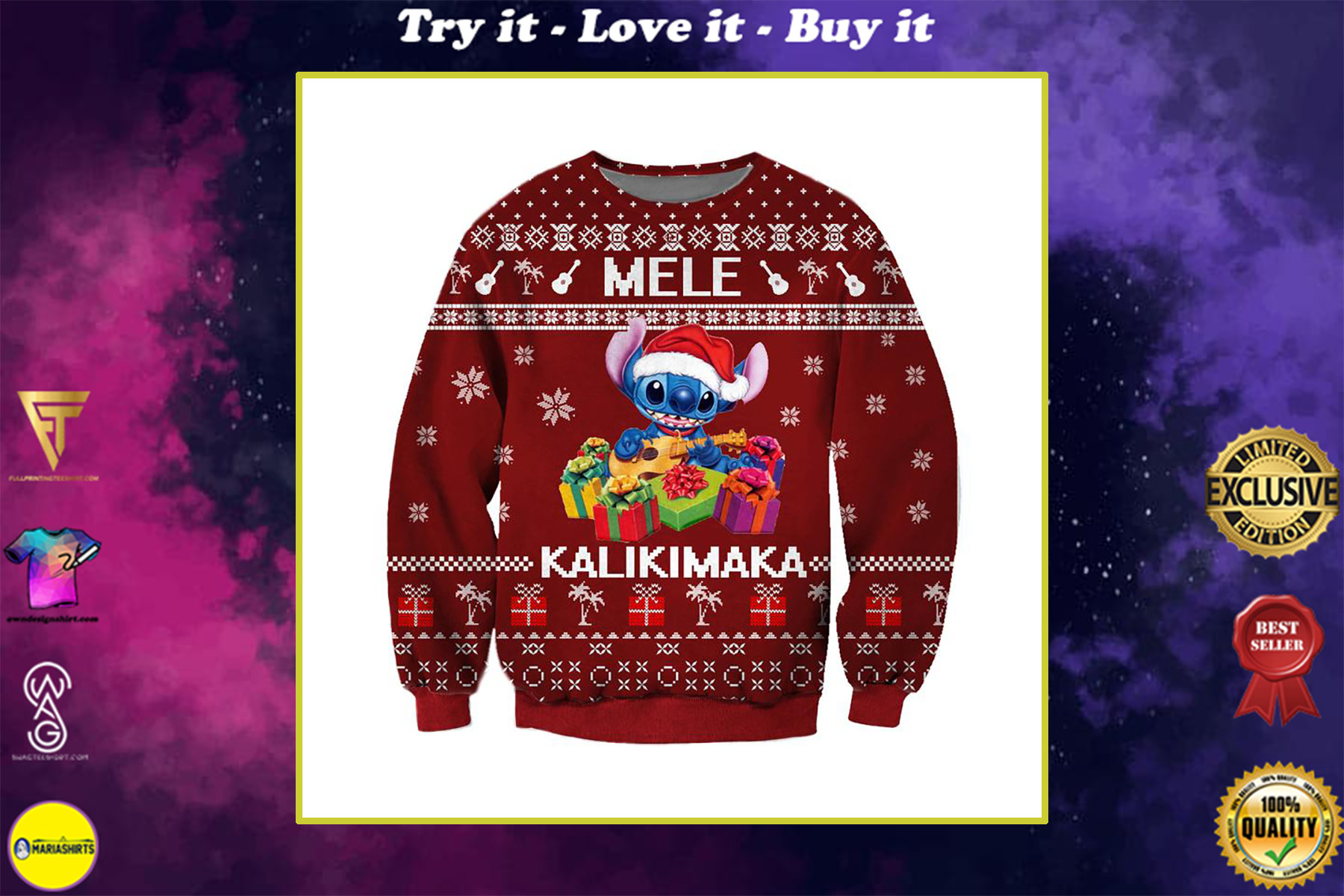 mele kalikimaka stitch santa claus all over printed ugly christmas sweater