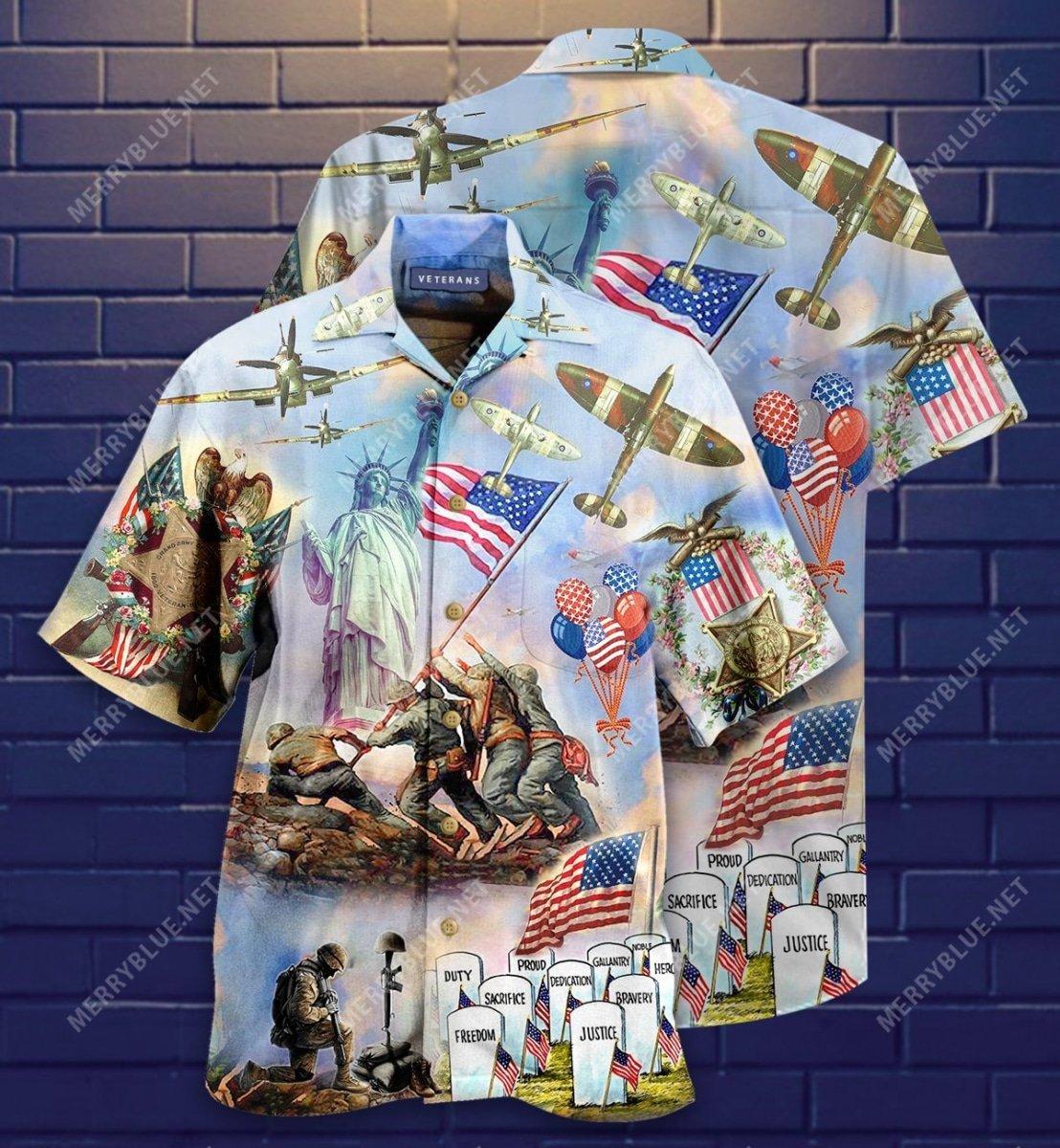 memorial veteran american all over printed hawaiian shirt 2
