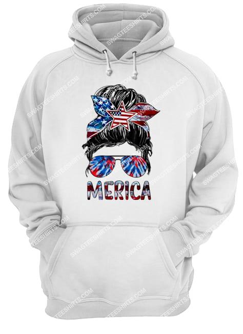 merica 4th of july messy bun american flag tie dye hoodie 1