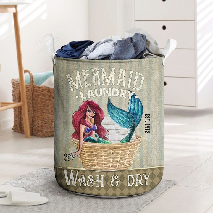 mermaid wash and dry all over printed laundry basket 2