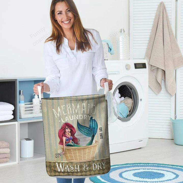 mermaid wash and dry all over printed laundry basket 4