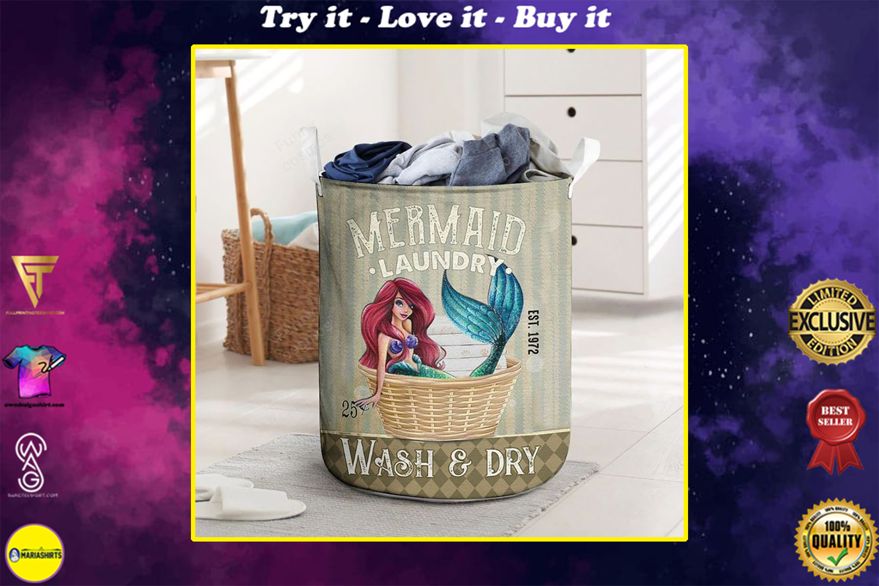 mermaid wash and dry all over printed laundry basket