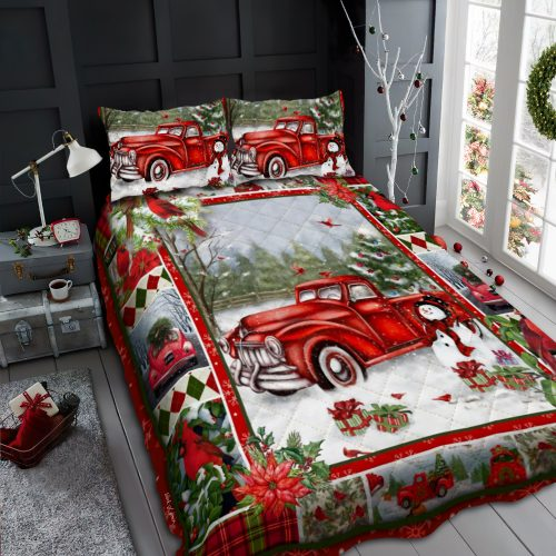 merry christmas and red truck all over print bedding set 3