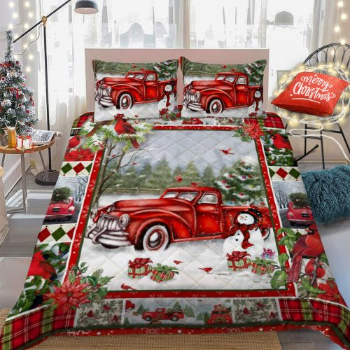 merry christmas and red truck all over print bedding set 4
